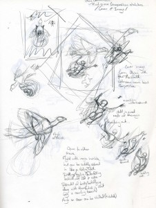 Études de composition - Scarlet Harlequin
