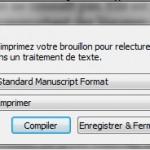 Scrivener : fenêtre de compilation